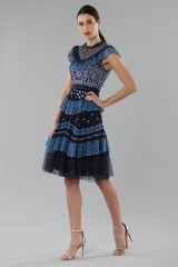 Drexcode - Short dress with flounces and floral embroidery - Needle&Thread - Rent - 5
