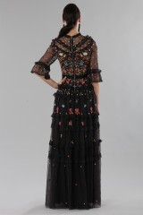 Drexcode - Long black dress in tulle with floral decorations - Needle&Thread - Rent - 4