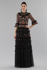 Drexcode - Long black dress in tulle with floral decorations - Needle&Thread - Rent - 1
