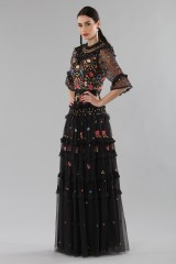 Drexcode - Long black dress in tulle with floral decorations - Needle&Thread - Rent - 3