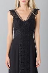 Drexcode - Long black dress with lace neckline - Alberta Ferretti - Rent - 6