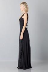 Drexcode - Long black dress with lace neckline - Alberta Ferretti - Rent - 4