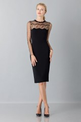 Drexcode - Black dress with lace decorations and plumetis - Blumarine - Sale - 1