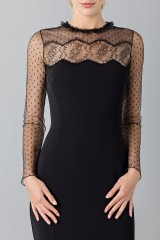 Drexcode - Black dress with lace decorations and plumetis - Blumarine - Sale - 5