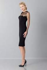 Drexcode - Black dress with lace decorations and plumetis - Blumarine - Sale - 3