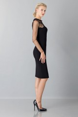 Drexcode - Black dress with lace decorations and plumetis - Blumarine - Sale - 4