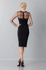 Drexcode - Black dress with lace decorations and plumetis - Blumarine - Sale - 2