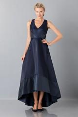 Drexcode - Long asymmetric V-neck blue dress.  - Theia - Rent - 4