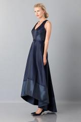 Drexcode - Long asymmetric V-neck blue dress.  - Theia - Rent - 5