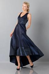 Drexcode - Long asymmetric V-neck blue dress.  - Theia - Rent - 1
