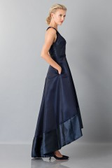 Drexcode - Long asymmetric V-neck blue dress.  - Theia - Rent - 6