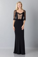 Drexcode - Black mermaid dress with lace sleeves - Blumarine - Sale - 1