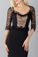 Drexcode - Black mermaid dress with lace sleeves - Blumarine - Sale - 6