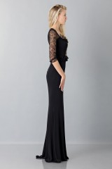 Drexcode - Black mermaid dress with lace sleeves - Blumarine - Sale - 4
