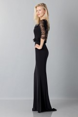 Drexcode - Black mermaid dress with lace sleeves - Blumarine - Sale - 3