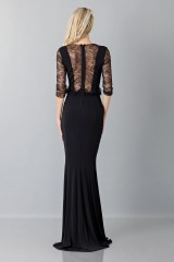 Drexcode - Black mermaid dress with lace sleeves - Blumarine - Sale - 2