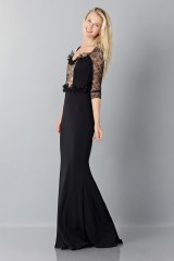 Drexcode - Black mermaid dress with lace sleeves - Blumarine - Sale - 5