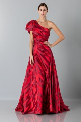 Drexcode - One-shoulder red dress with puff sleeve - Vivienne Westwood - Rent - 2