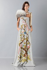 Drexcode - Gray woolen bustier with floral themed applique - Alberta Ferretti - Rent - 4