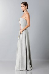 Drexcode - Gray woolen bustier with floral themed applique - Alberta Ferretti - Rent - 6