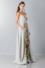 Drexcode - Gray woolen bustier with floral themed applique - Alberta Ferretti - Rent - 5
