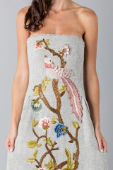 Drexcode - Gray woolen bustier with floral themed applique - Alberta Ferretti - Rent - 7