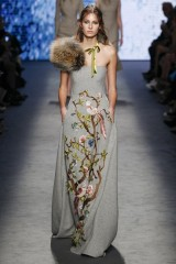 Drexcode - Gray woolen bustier with floral themed applique - Alberta Ferretti - Rent - 3