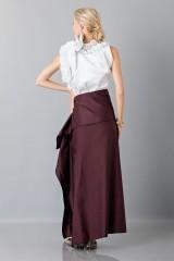Drexcode - Bordeaux skirt with anterior drapery  - Albino - Rent - 2