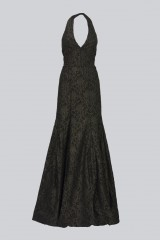 Drexcode - Gold brocade dress with lace - Halston - Rent - 3