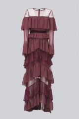 Drexcode - Long burgundy dress with volants - Perseverance - Rent - 4