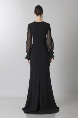 Drexcode - Silk dress with long sleeve and transparent neckline  - Ports 1961 - Rent - 2