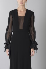 Drexcode - Silk dress with long sleeve and transparent neckline  - Ports 1961 - Rent - 3