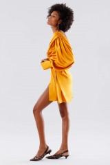 Drexcode - Short orange dress with V-neck - Rhea Costa - Rent - 3