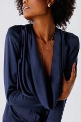 Drexcode - Blue dress with deep neckline - Rhea Costa - Rent - 5