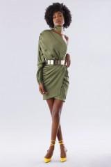 Drexcode - One-shoulder short olive dress - Rhea Costa - Rent - 1
