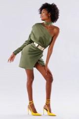 Drexcode - One-shoulder short olive dress - Rhea Costa - Rent - 3