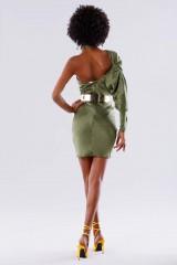 Drexcode - One-shoulder short olive dress - Rhea Costa - Rent - 4