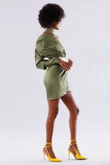Drexcode - One-shoulder short olive dress - Rhea Costa - Rent - 5