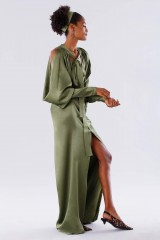 Drexcode - Olive dress with bat sleeves - Rhea Costa - Sale - 4
