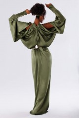 Drexcode - Olive dress with bat sleeves - Rhea Costa - Sale - 3