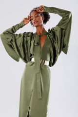 Drexcode - Olive dress with batwing sleeves - Rhea Costa - Rent - 6