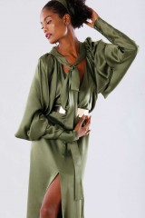 Drexcode - Olive dress with batwing sleeves - Rhea Costa - Rent - 7