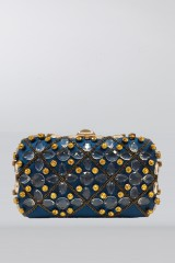 Drexcode - Blue silk clutch with crystals and chains - Rodo - Rent - 1