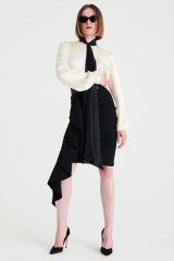 Drexcode - Camicia bianca in seta con fiocco nero - Redemption - Sale - 6