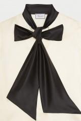 Drexcode - Camicia bianca in seta con fiocco nero - Redemption - Sale - 1