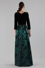 Drexcode - Dress with long sleeves and brocaded skirt - Theia - Rent - 5