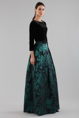 Drexcode - Dress with long sleeves and brocaded skirt - Theia - Rent - 4