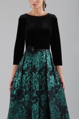 Drexcode - Dress with long sleeves and brocaded skirt - Theia - Rent - 6