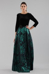 Drexcode - Dress with long sleeves and brocaded skirt - Theia - Rent - 2