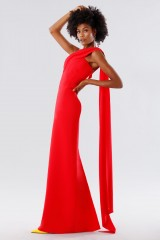 Drexcode - One-shoulder red dress with drapery - Tot-Hom - Sale - 3